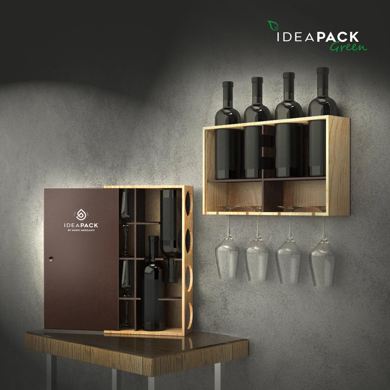 Wooden rack 4 bottles